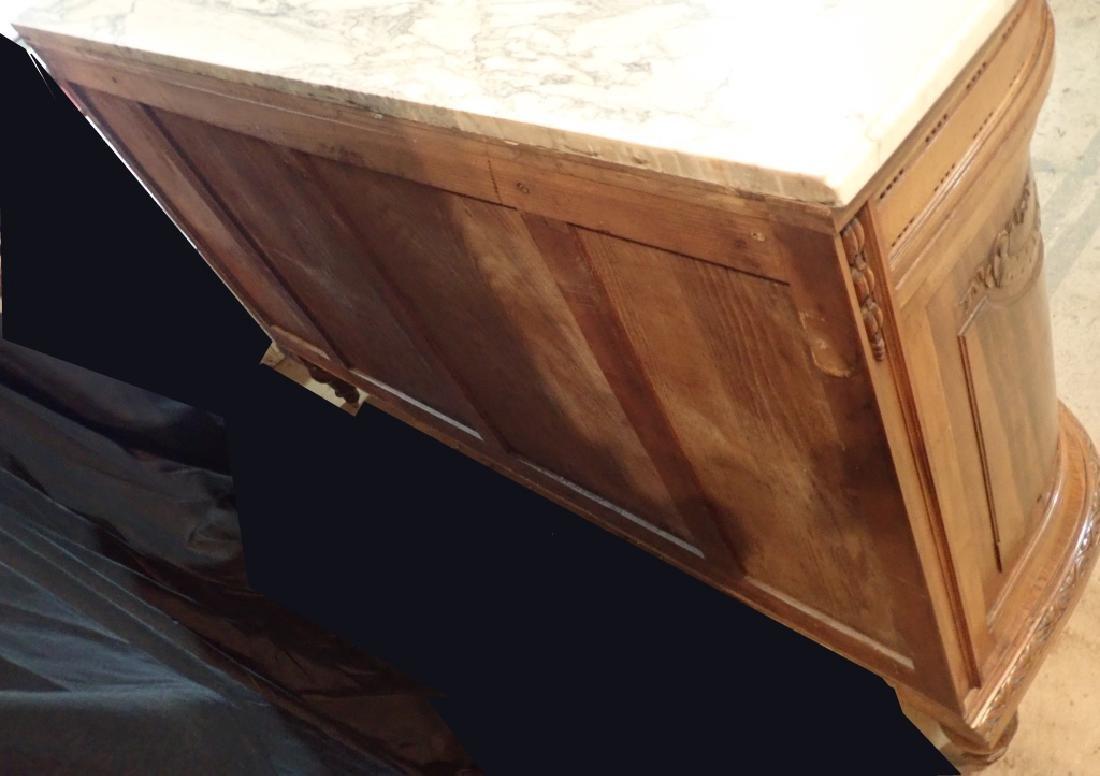 Marble Top Louis XVI Style Walnut Sideboard - 7