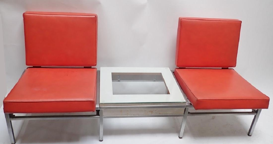 Art Deco Square Tubular Seating w/ Attached Table - 10