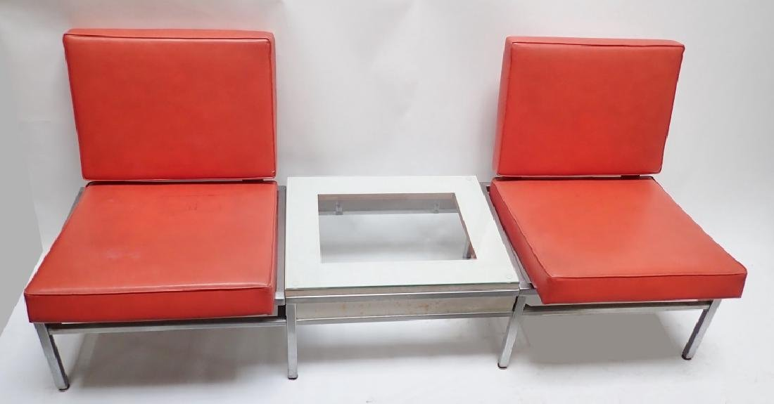 Art Deco Square Tubular Seating w/ Attached Table