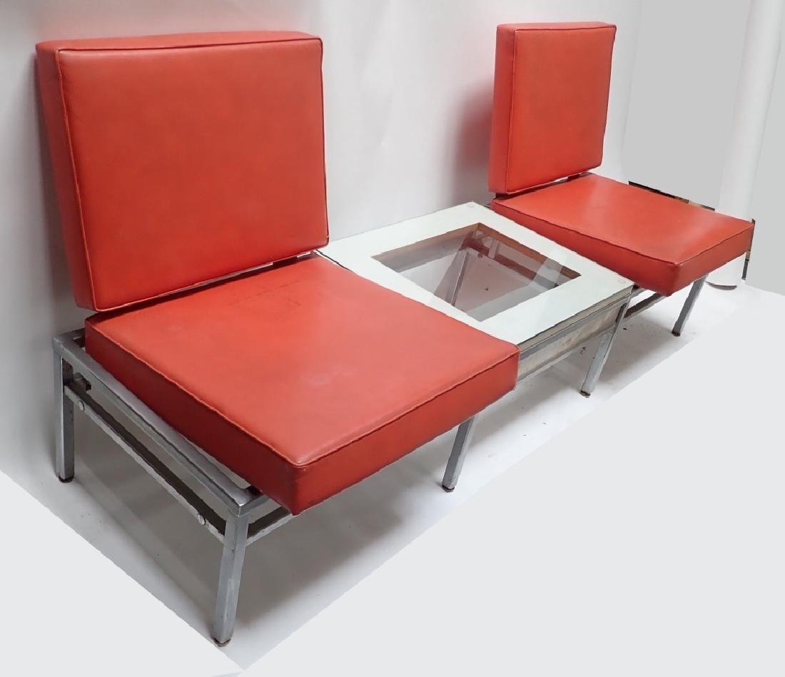 Art Deco Square Tubular Seating w/ Attached Table - 2