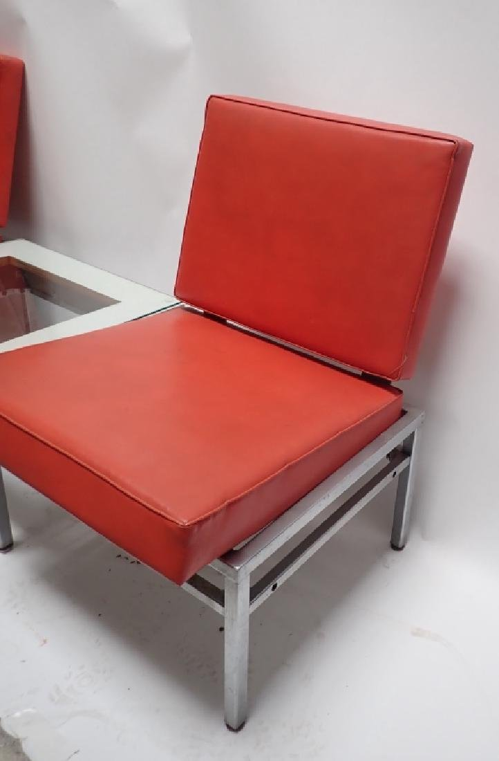 Art Deco Square Tubular Seating w/ Attached Table - 3