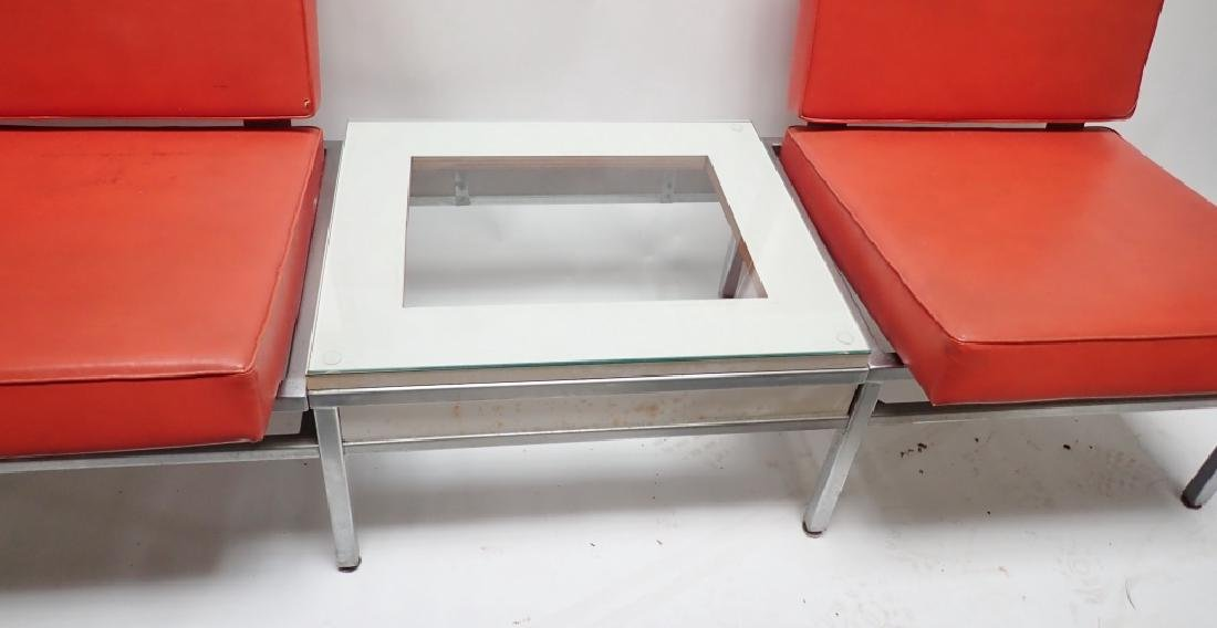 Art Deco Square Tubular Seating w/ Attached Table - 4