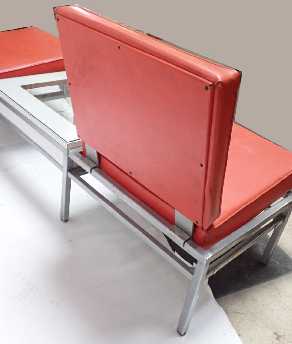 Art Deco Square Tubular Seating w/ Attached Table - 6