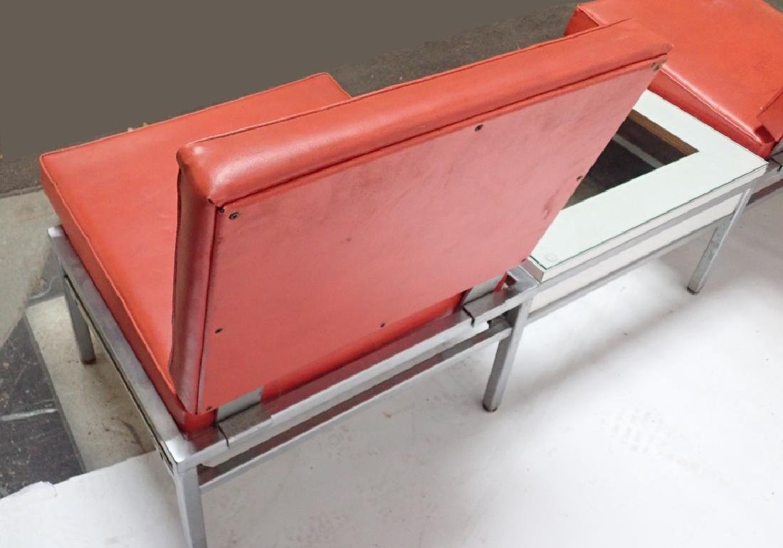 Art Deco Square Tubular Seating w/ Attached Table - 7