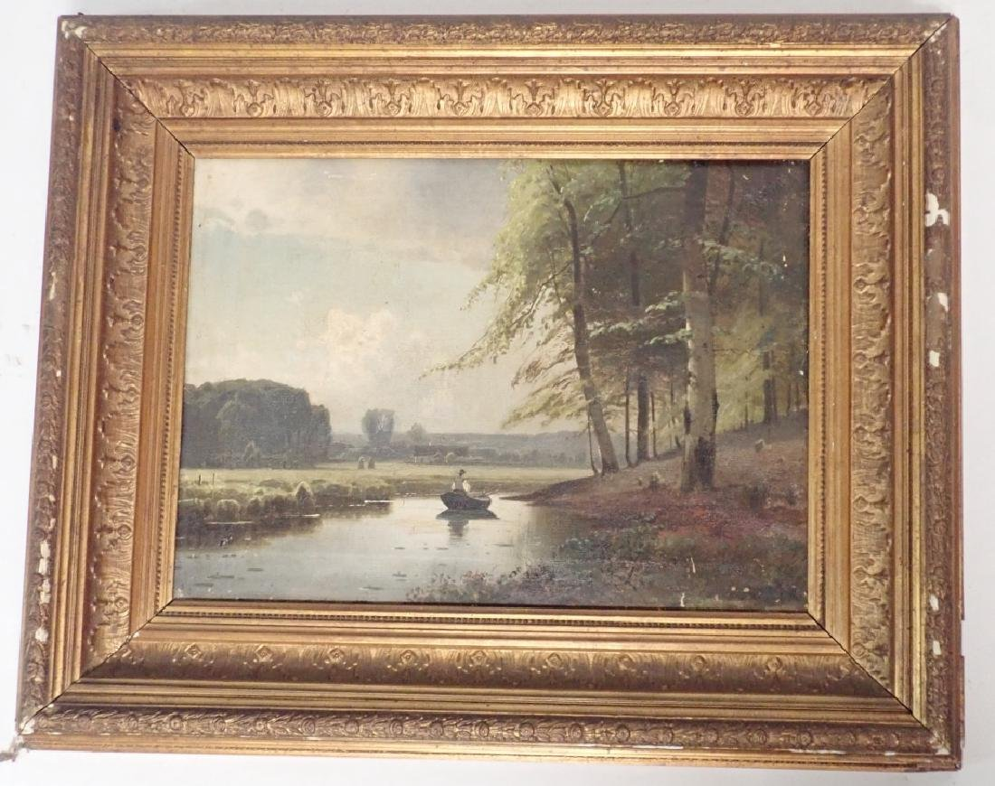 19th Century Signed Riverbed Landscape Oil Painting