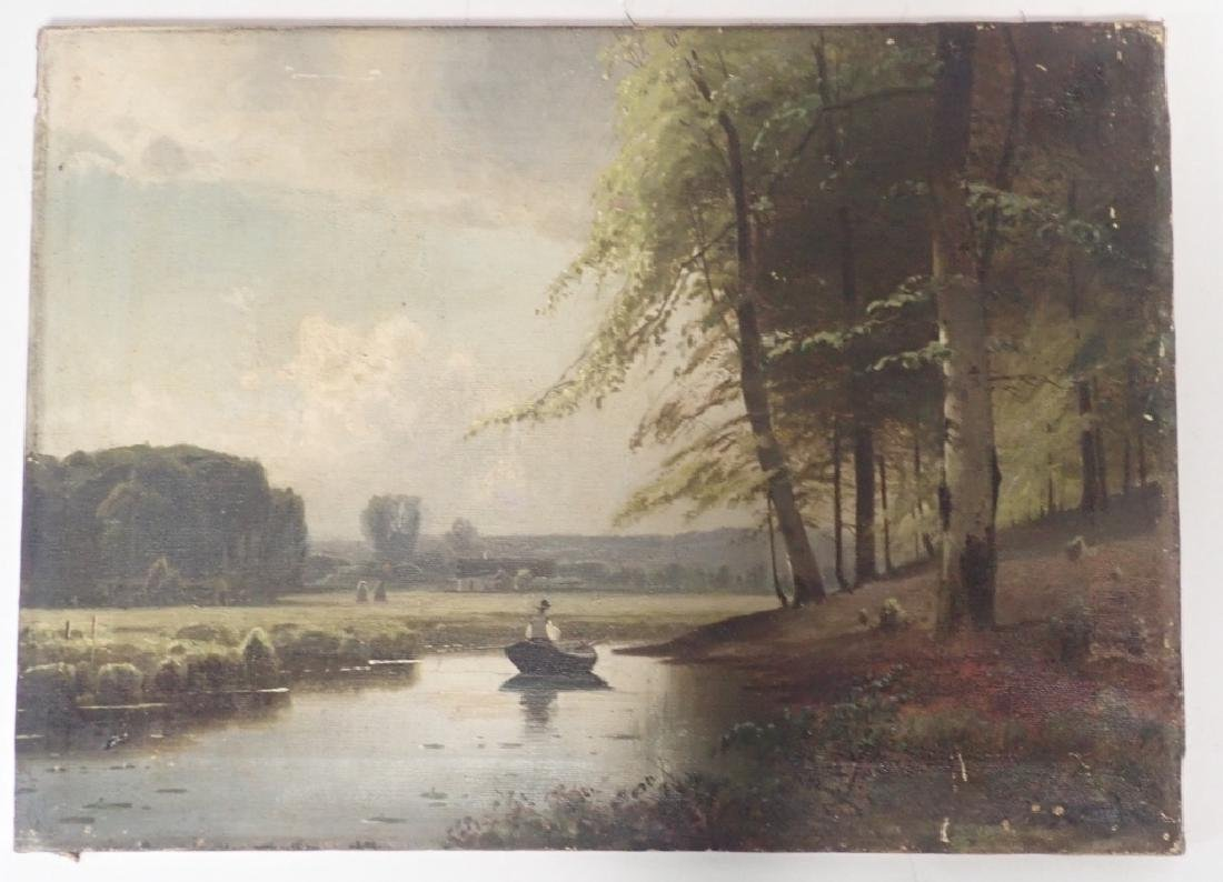 19th Century Signed Riverbed Landscape Oil Painting - 2