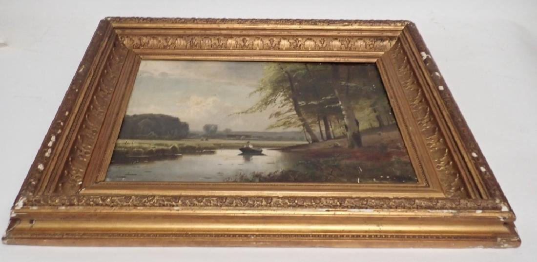 19th Century Signed Riverbed Landscape Oil Painting - 6