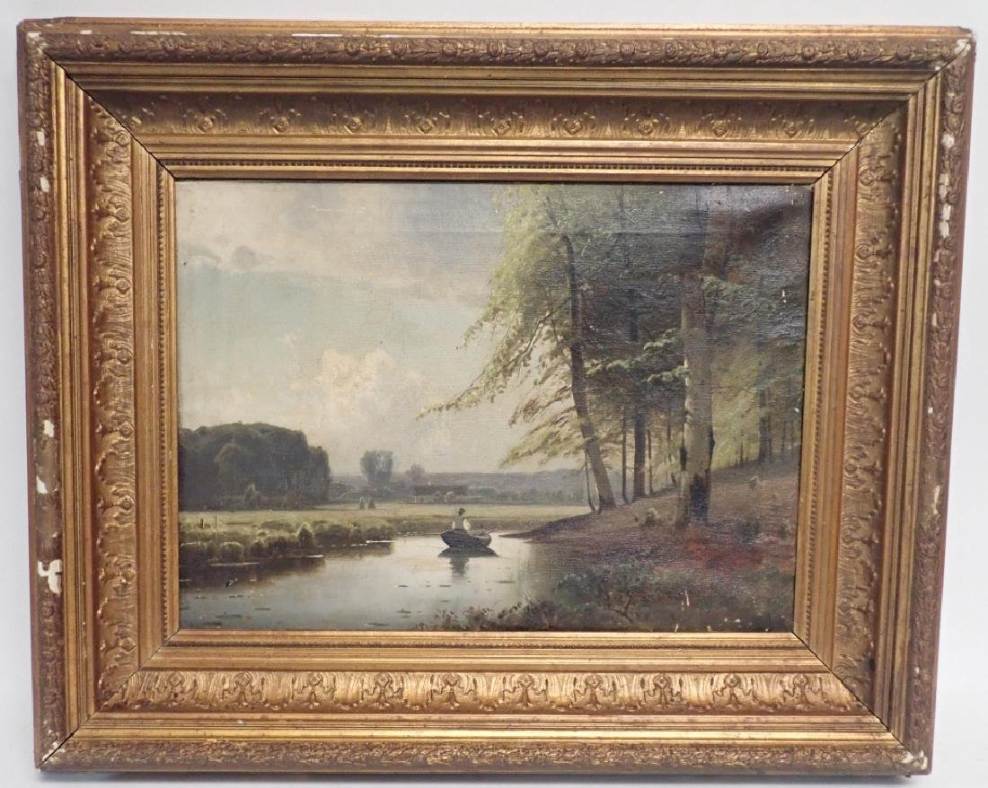 19th Century Signed Riverbed Landscape Oil Painting - 7
