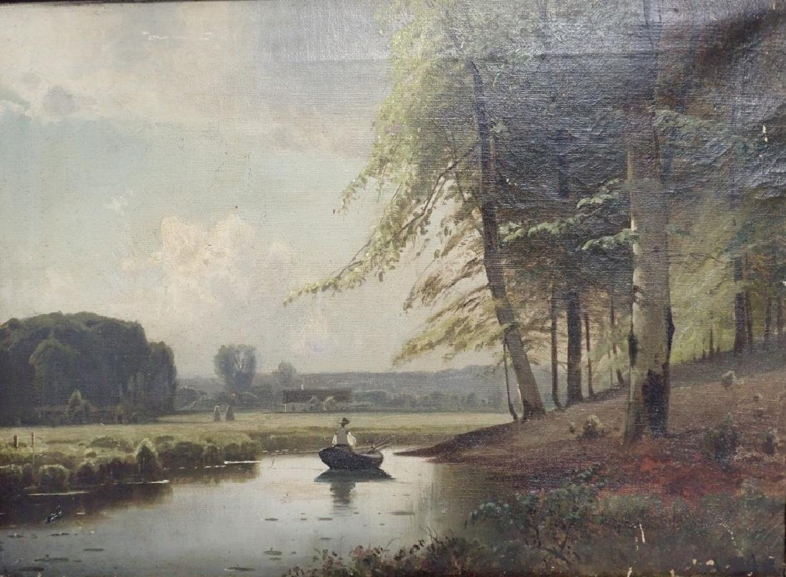19th Century Signed Riverbed Landscape Oil Painting - 8