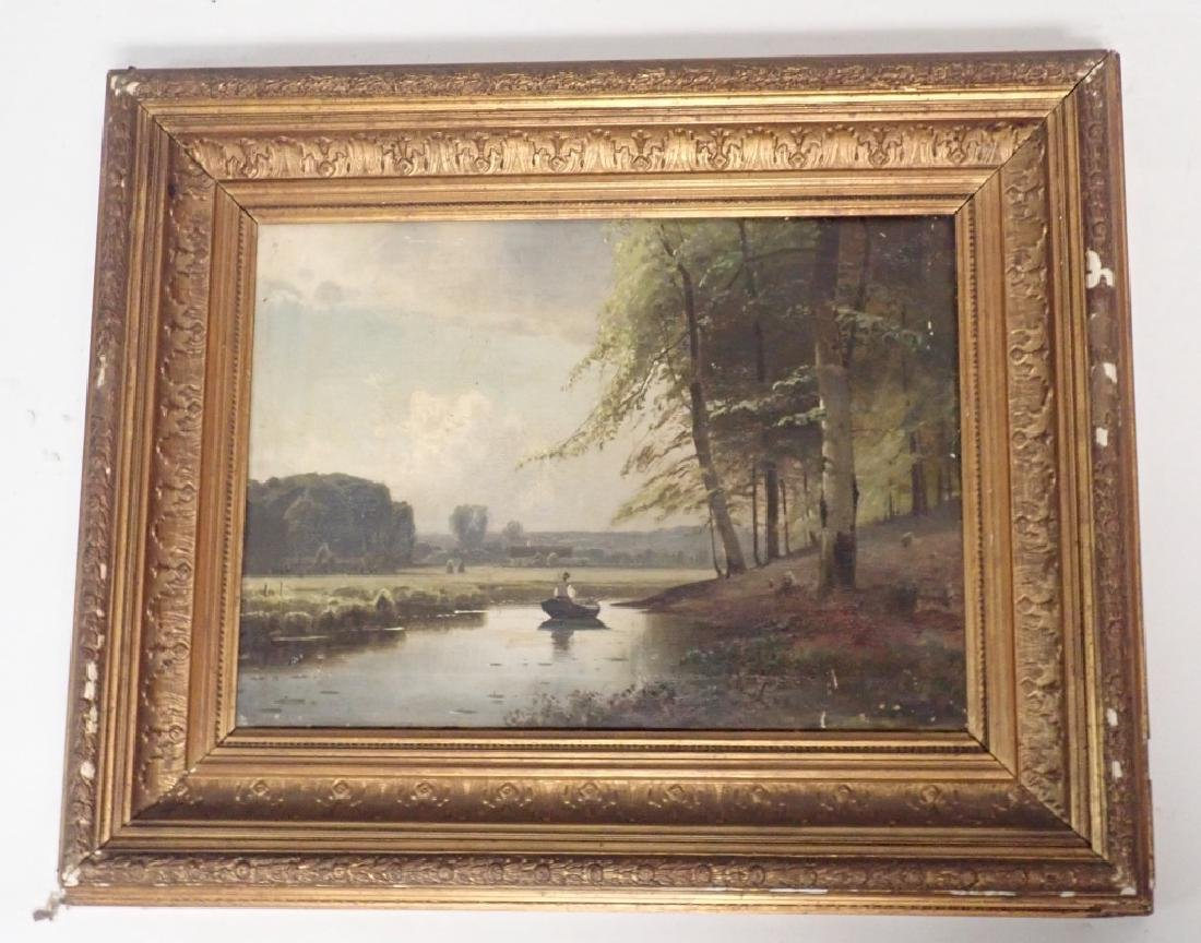 19th Century Signed Riverbed Landscape Oil Painting - 9