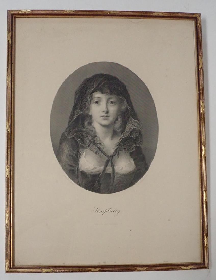 """Simplicity"" Antique Framed Engraving - 2"