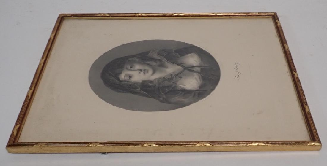"""Simplicity"" Antique Framed Engraving - 3"