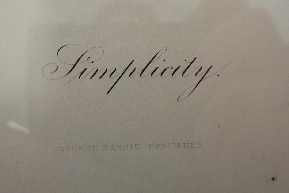 """Simplicity"" Antique Framed Engraving - 5"