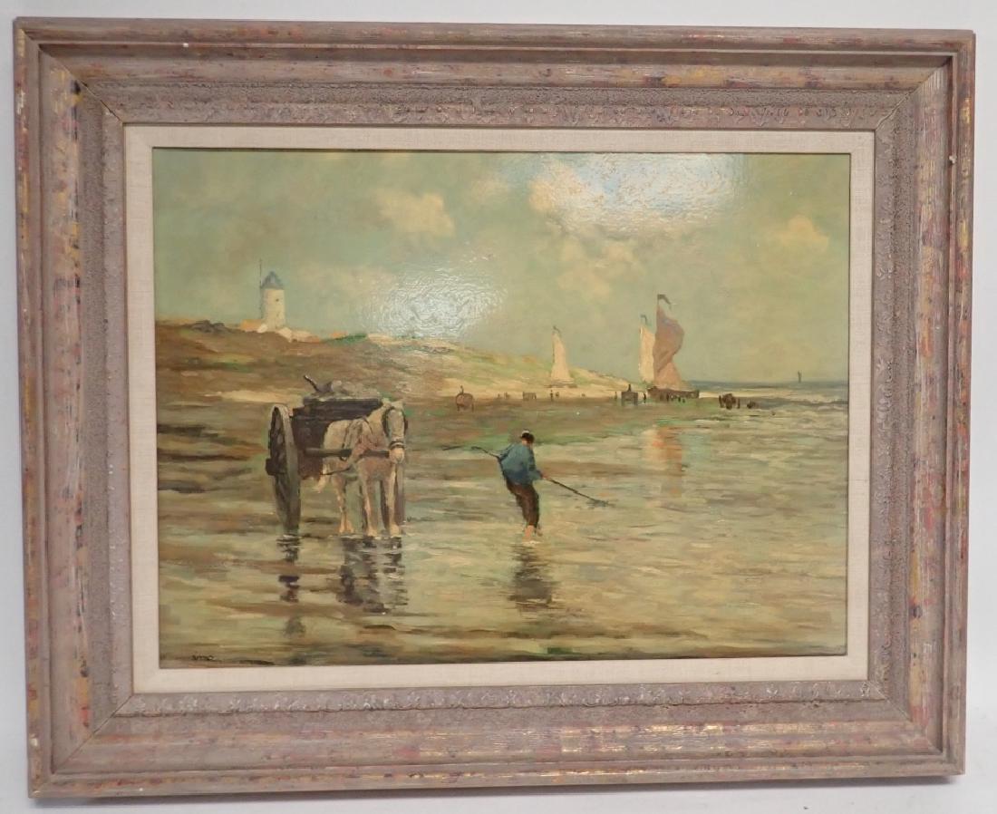 Signed Figural Landscape Oil Painting
