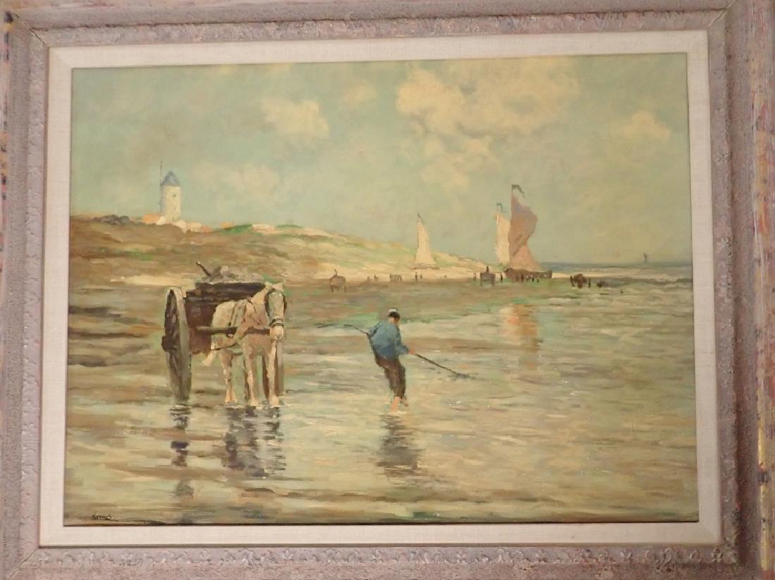 Signed Figural Landscape Oil Painting - 2