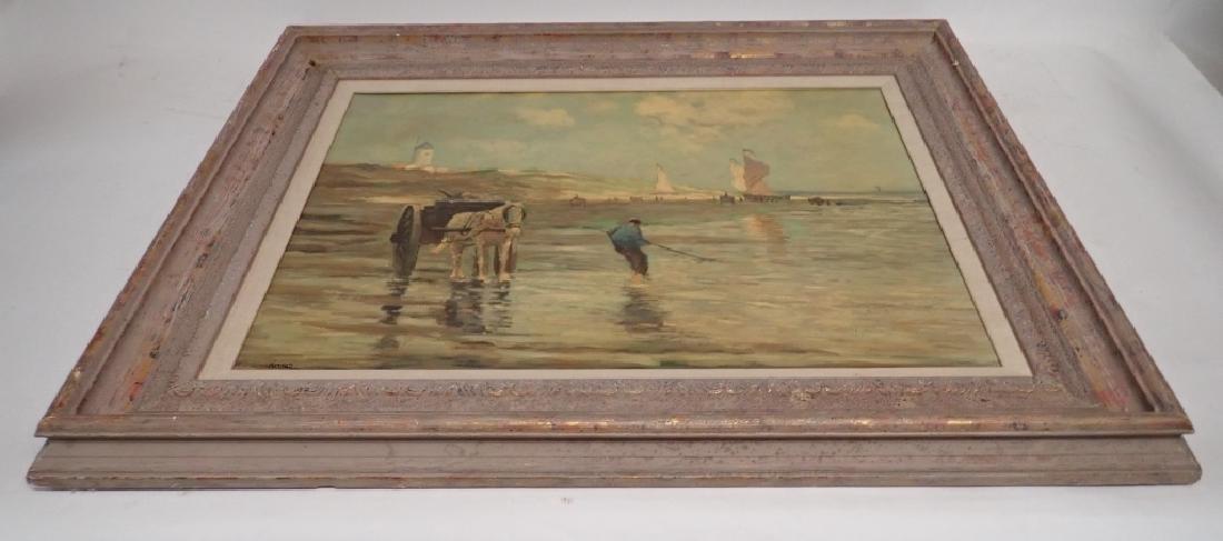 Signed Figural Landscape Oil Painting - 3