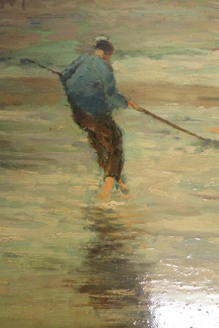 Signed Figural Landscape Oil Painting - 5