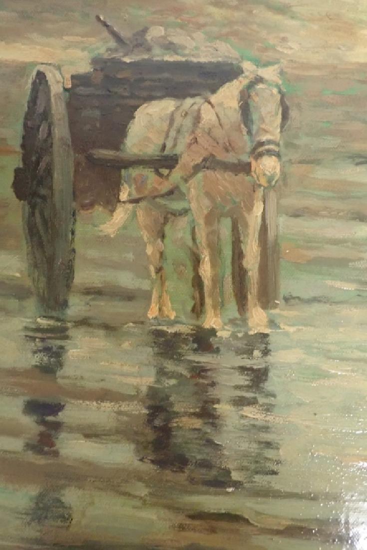 Signed Figural Landscape Oil Painting - 6