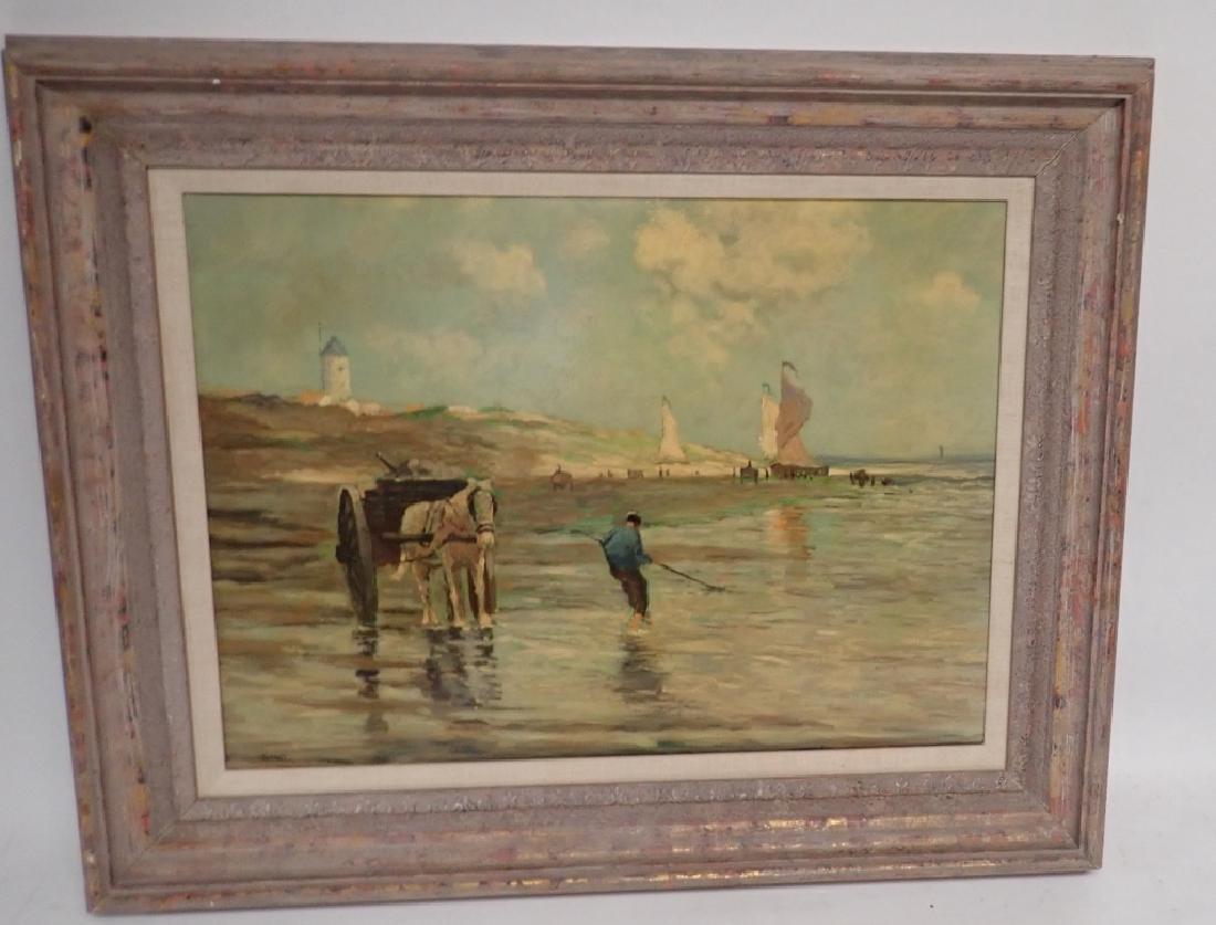 Signed Figural Landscape Oil Painting - 9