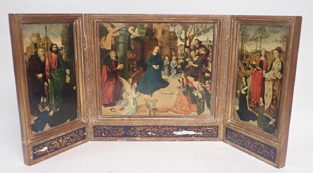 Vintage Religious Triptych of Nativity