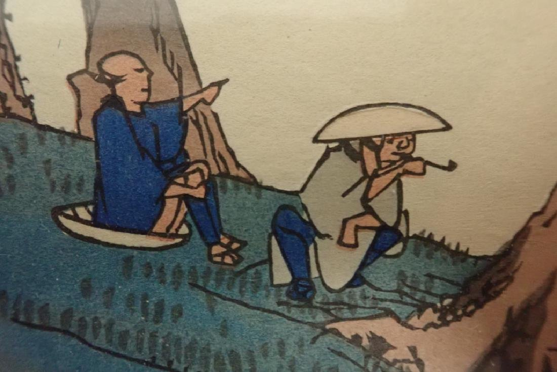 Pair of Signed Asian Water Colors - 7