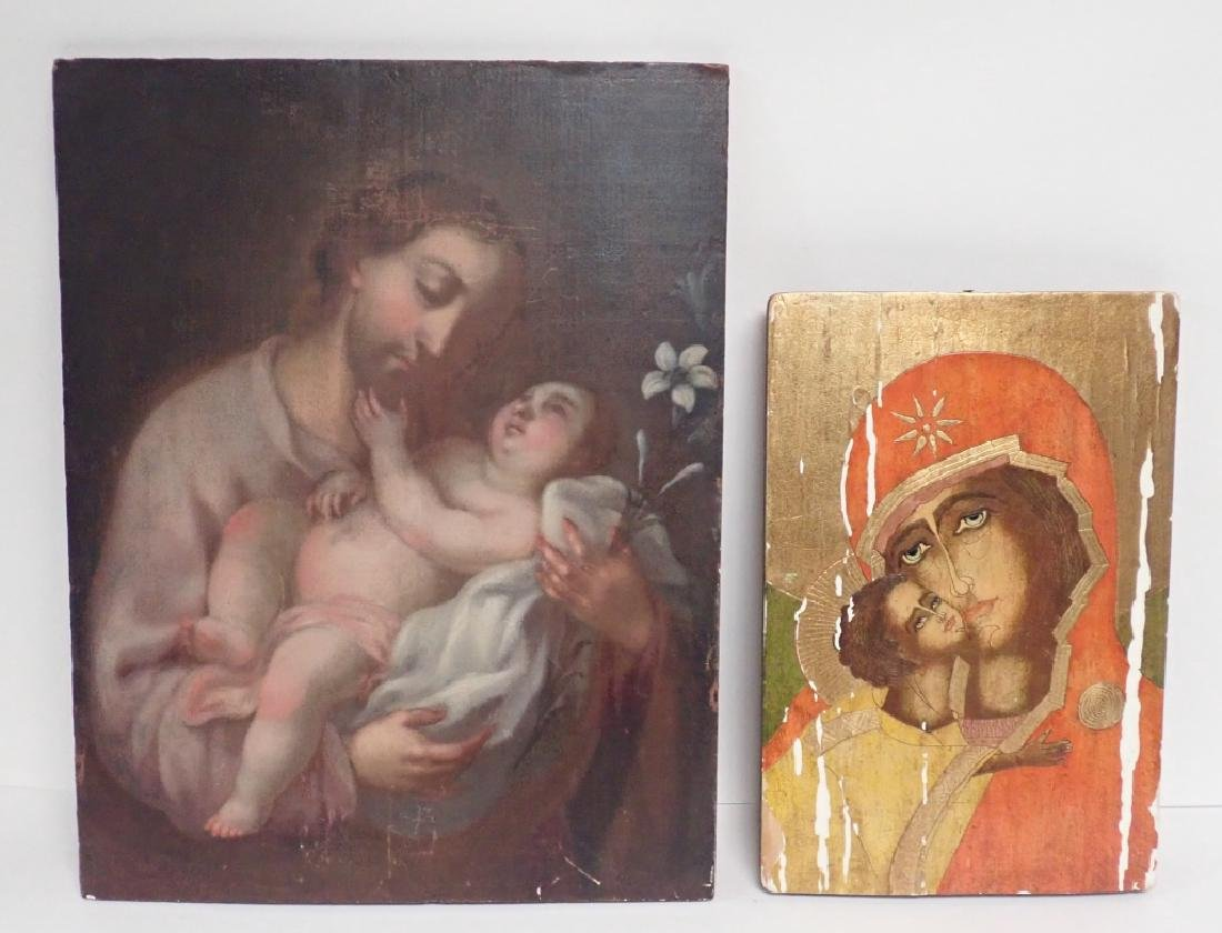 Pair of Religious Paintings on Planks - 10