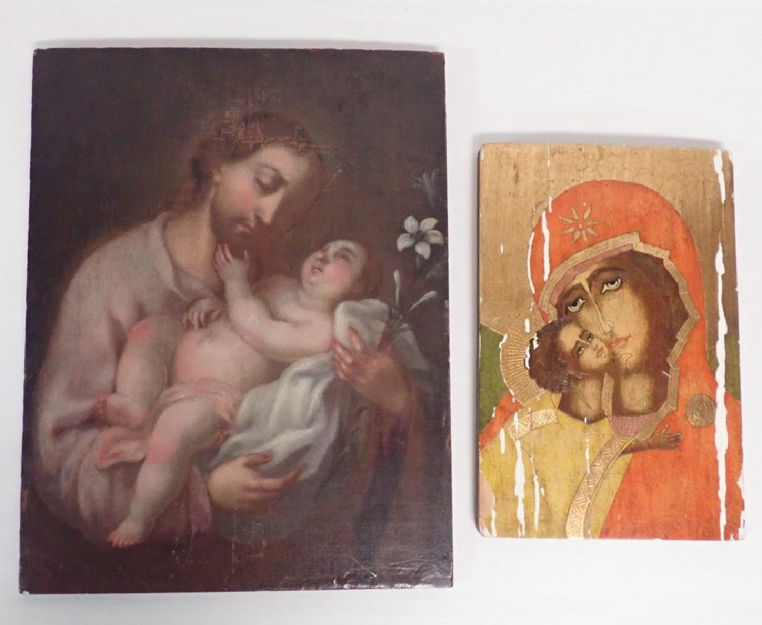 Pair of Religious Paintings on Planks