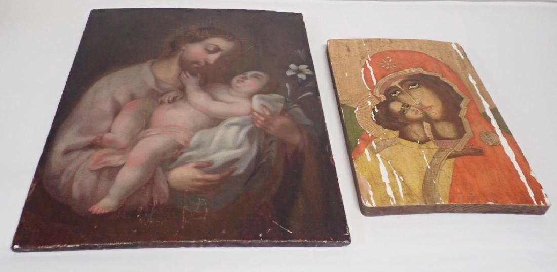 Pair of Religious Paintings on Planks - 2
