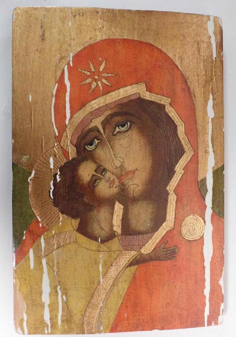 Pair of Religious Paintings on Planks - 3