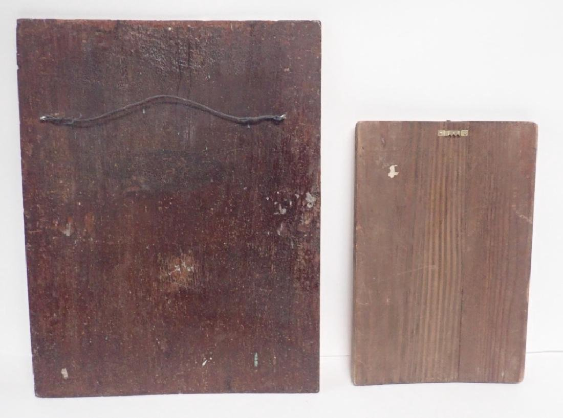 Pair of Religious Paintings on Planks - 9