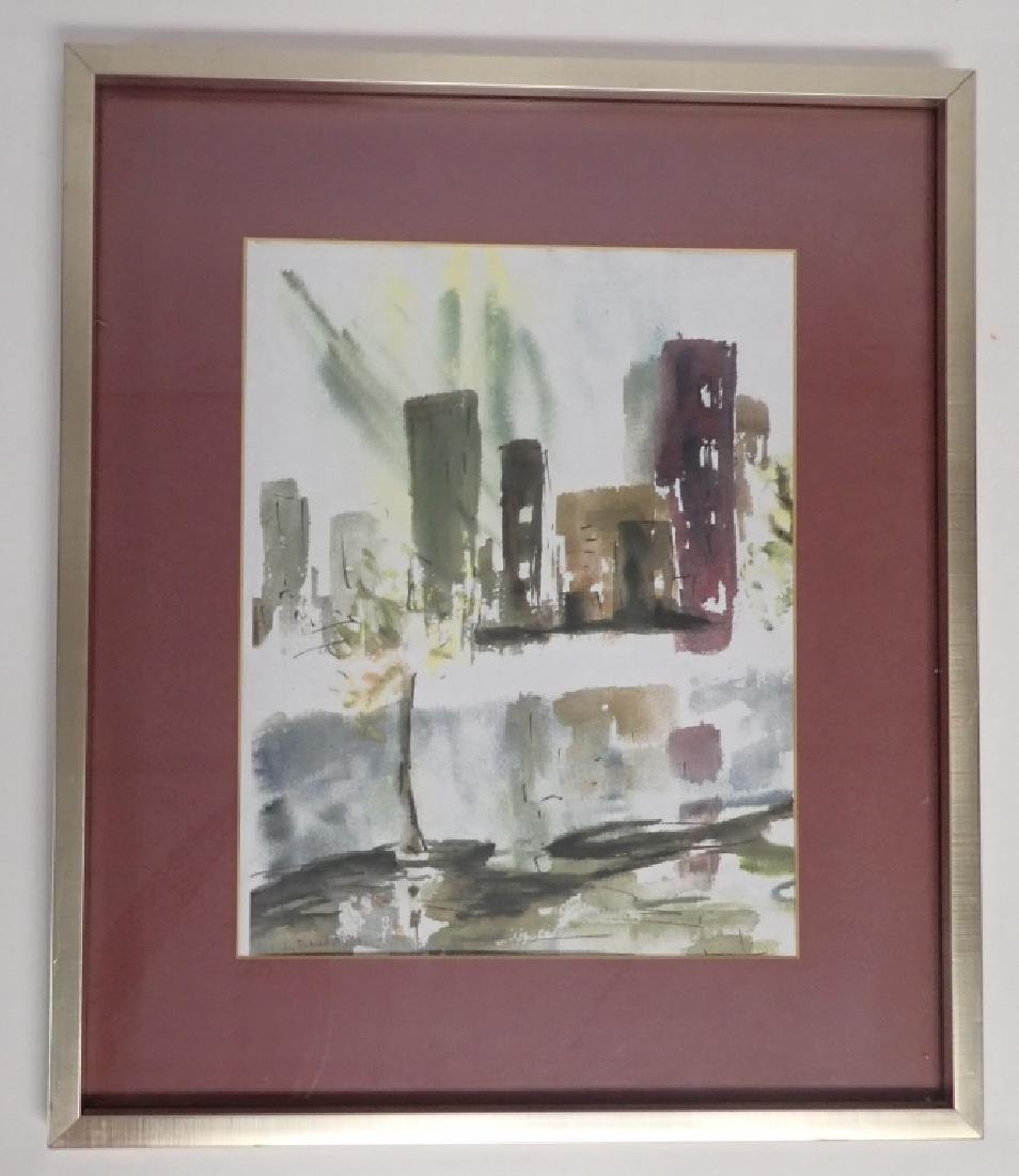 Signed Modern Cityscape Watercolor