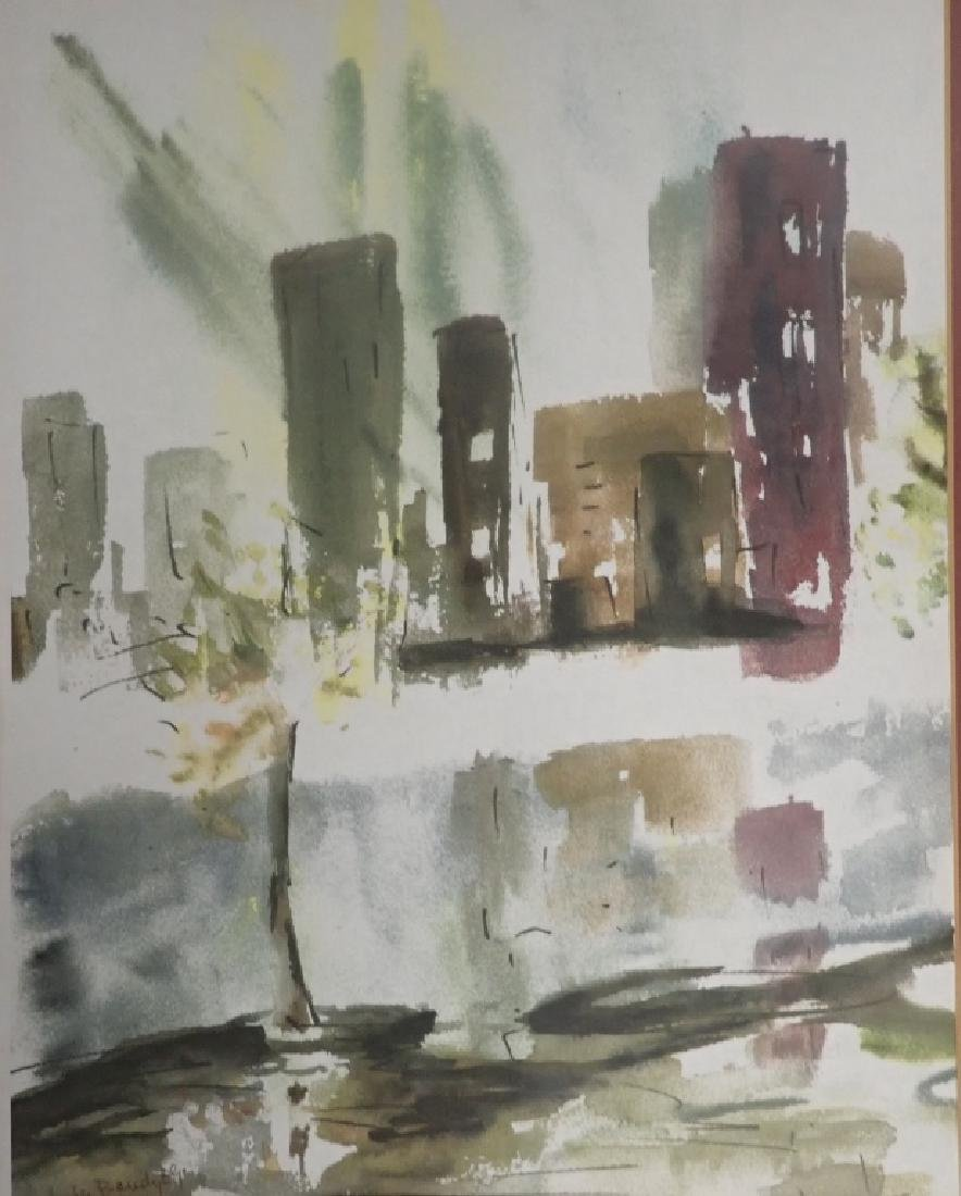 Signed Modern Cityscape Watercolor - 2