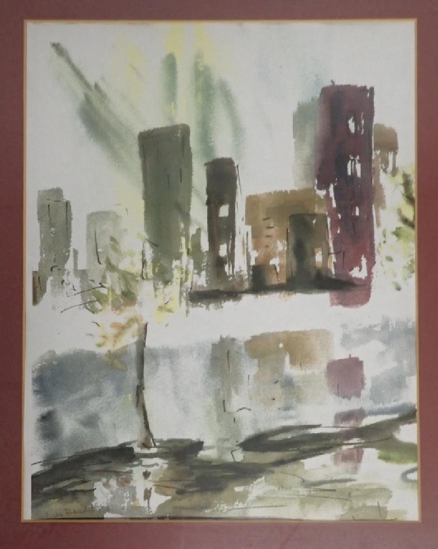 Signed Modern Cityscape Watercolor - 6