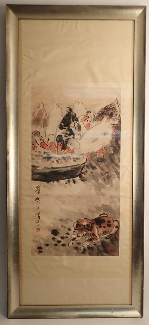 Signed Chinese Scroll Painting of Ducks & Dog - 10