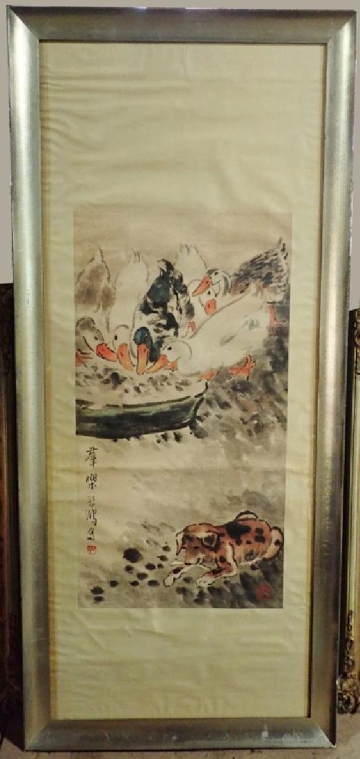 Signed Chinese Scroll Painting of Ducks & Dog