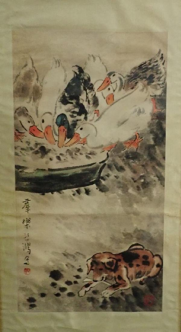Signed Chinese Scroll Painting of Ducks & Dog - 2