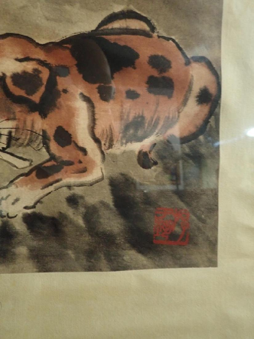 Signed Chinese Scroll Painting of Ducks & Dog - 5