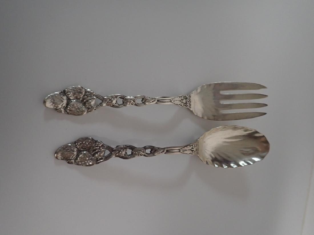 Sterling Strawberry Vine Serving Fork & Spoon Set - 10