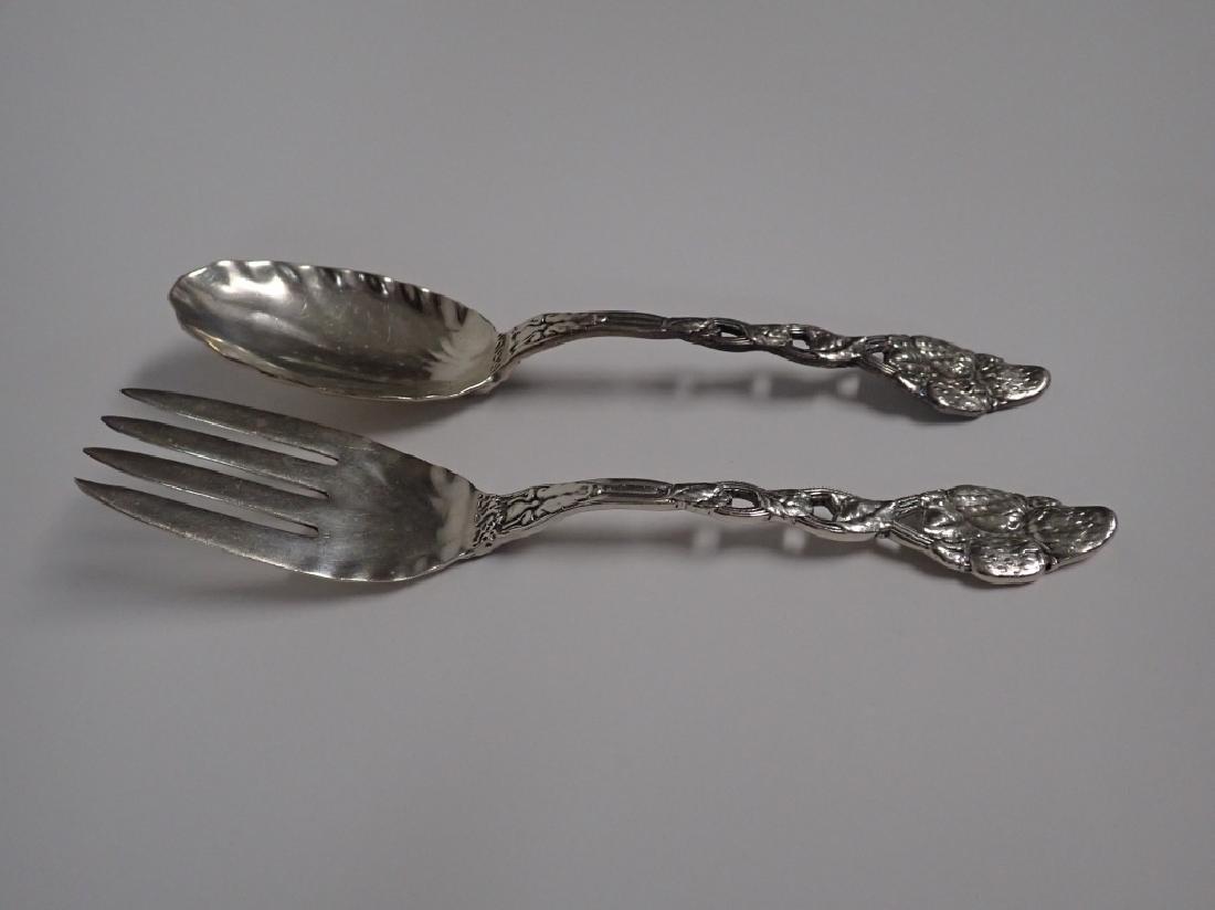 Sterling Strawberry Vine Serving Fork & Spoon Set