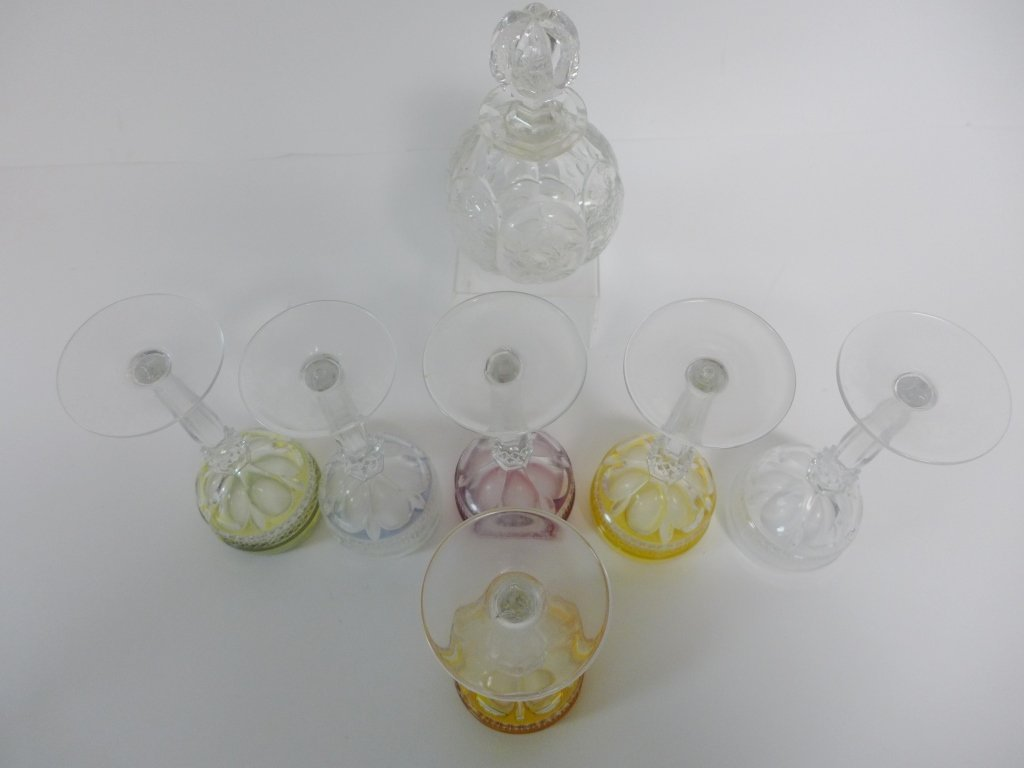 Colored Cut Crystal Bar Ware - 4
