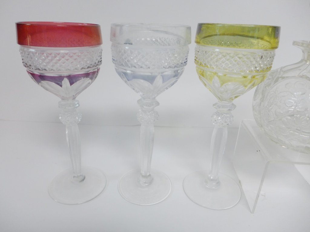 Colored Cut Crystal Bar Ware - 6