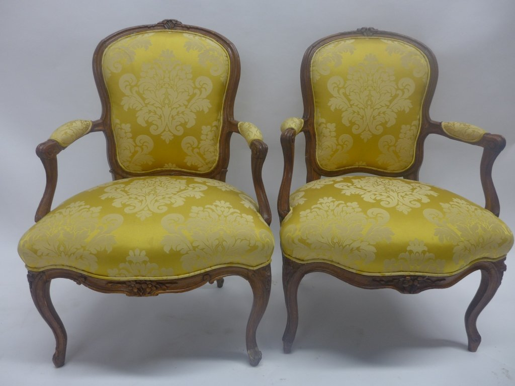 Stunning Pair Louis XV Style Arm Chairs