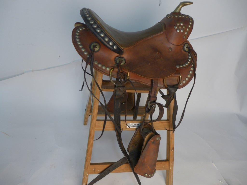 Vintage Horse Saddle w/ Stirrups - 7
