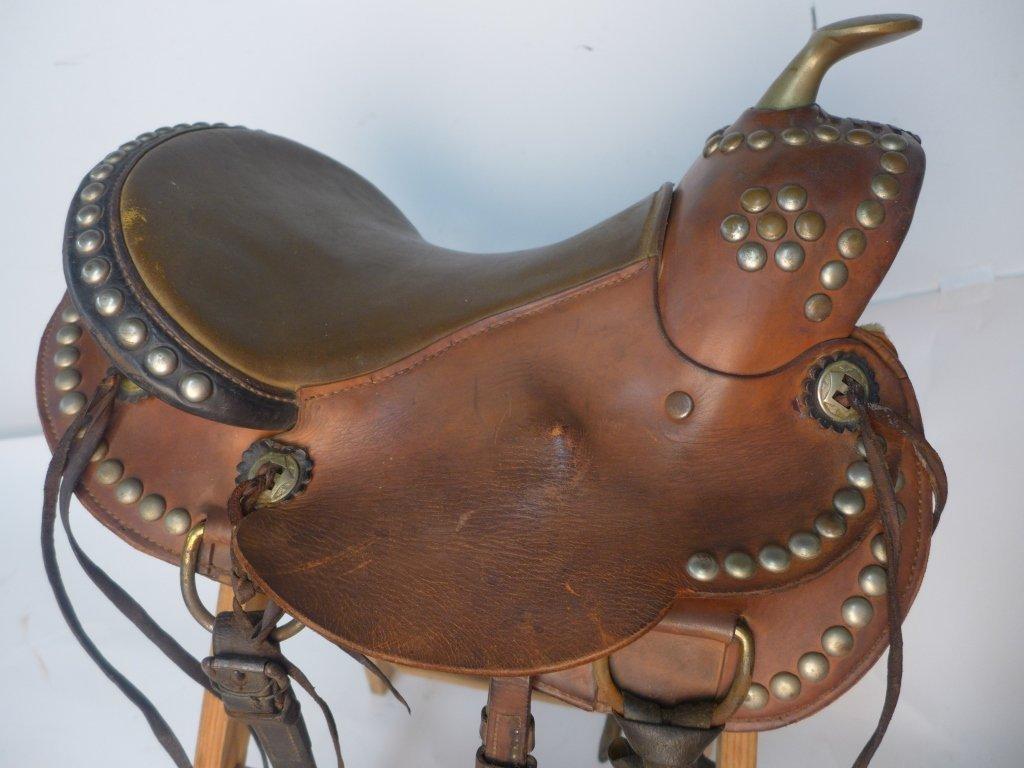 Vintage Horse Saddle w/ Stirrups - 8