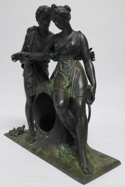 19th Century Bronze Figural Mantle Clock Case - 2