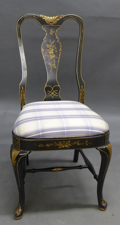 Lovely black lacquered side chair with gilt painted acc