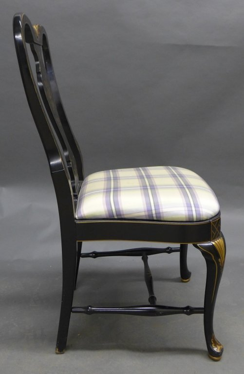 Lovely black lacquered side chair with gilt painted acc - 6