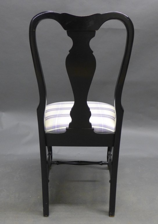 Lovely black lacquered side chair with gilt painted acc - 7