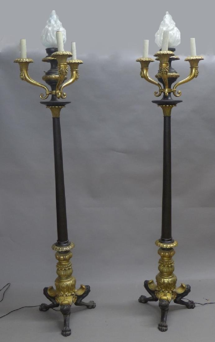 Pair Gilt Bronze and Iron Torchieres