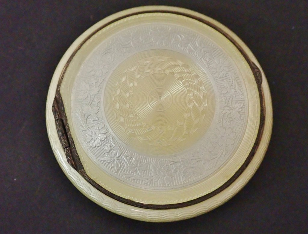 Enameled Guilloche Antique Art Deco Compact